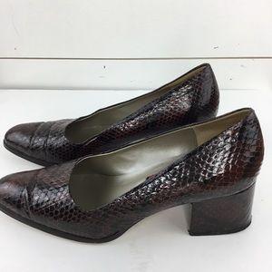 Phyllis Poland Faux Snake Skin Block Heel Shoe 8